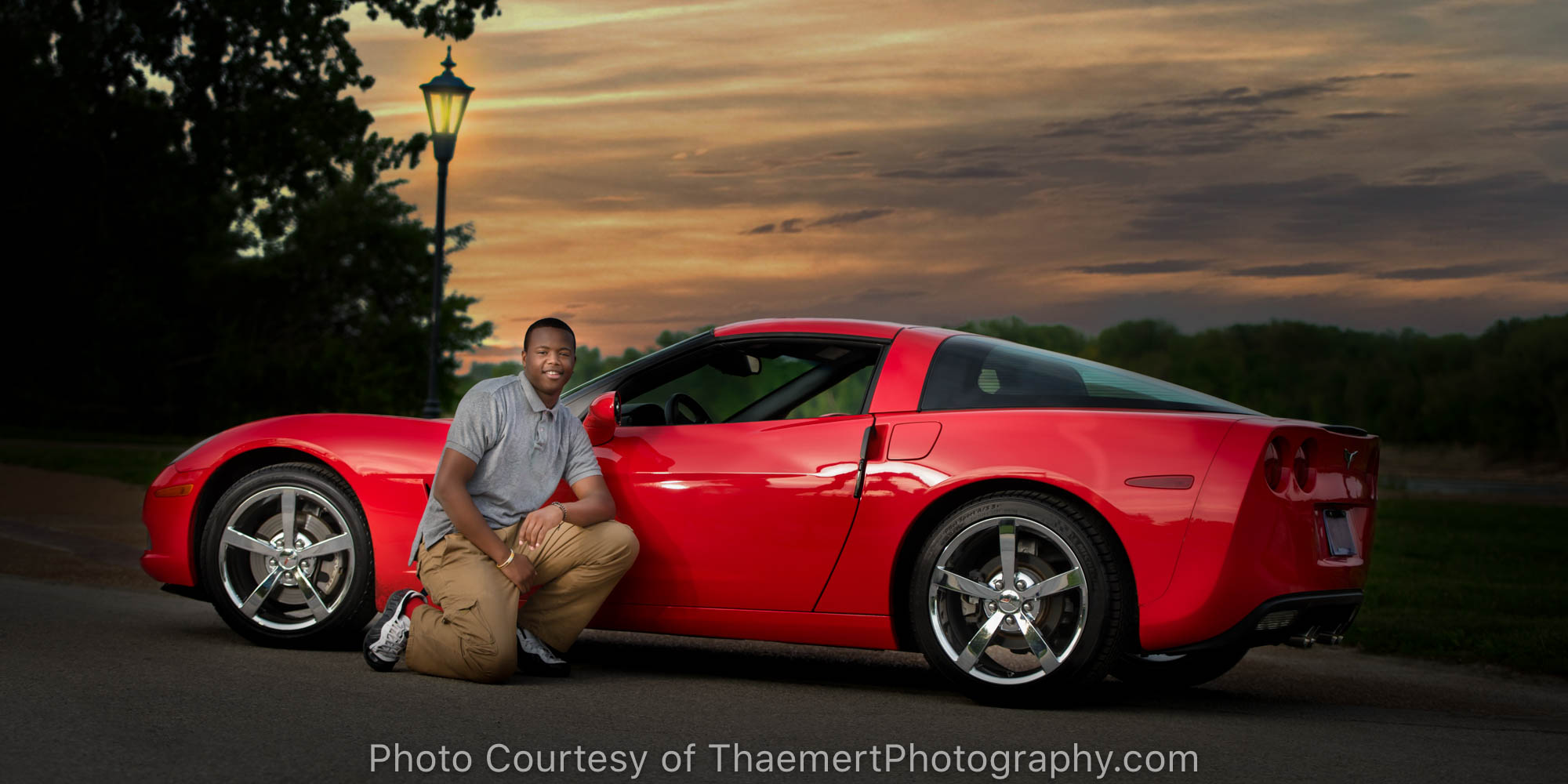 St Charles Senior Photographer Night Photos Guy with Car