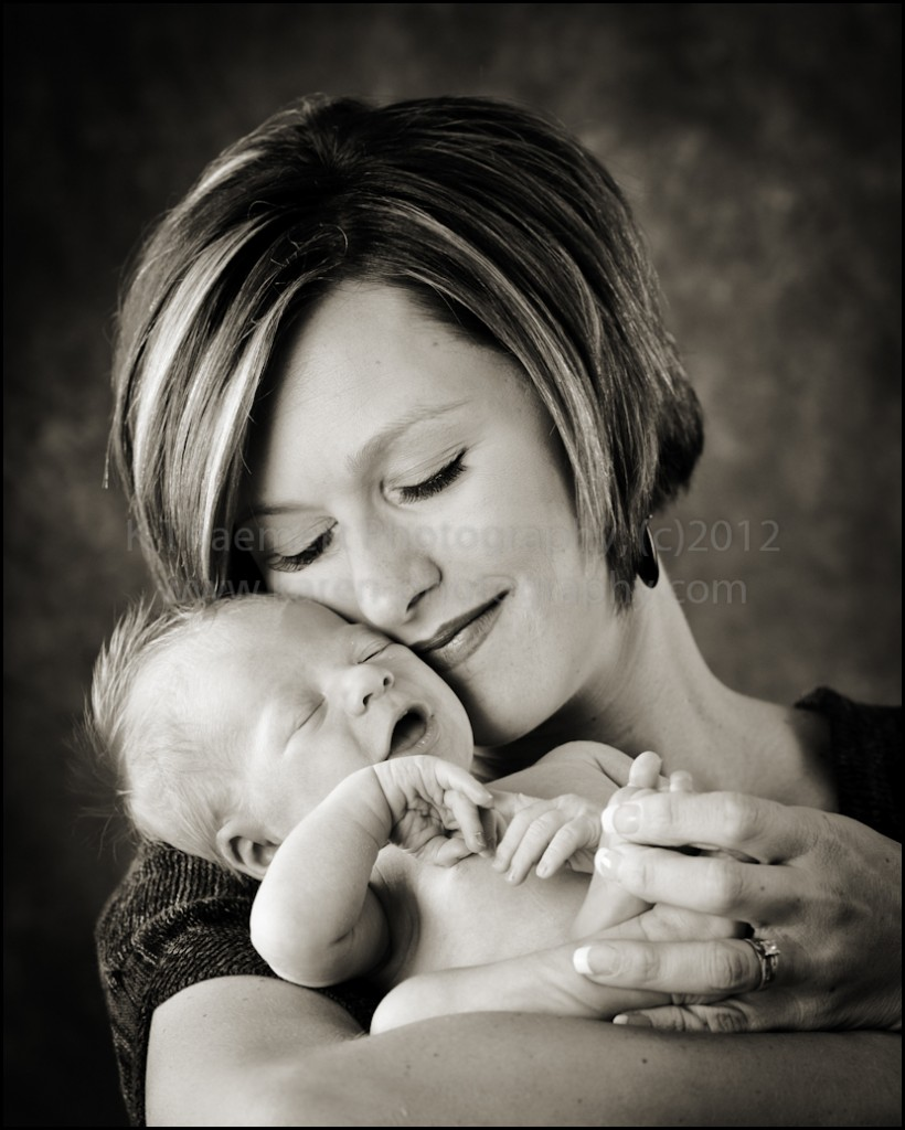 Newborn Baby Boy with mother in St Charles Photography Studio