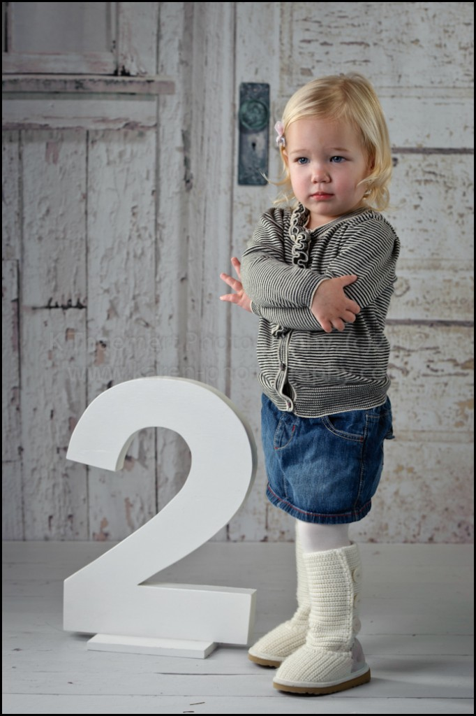 Defiant Two Year Old portraits at St Charles Children's Photographer studio