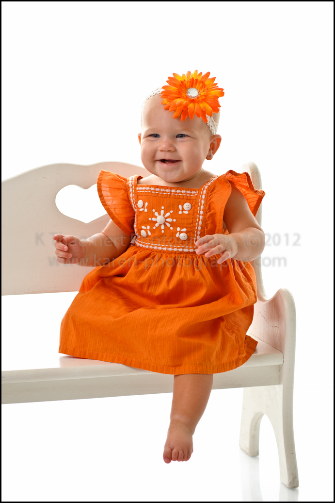 Studio Portrait of 9 month baby girl by St Charles Baby Photographer
