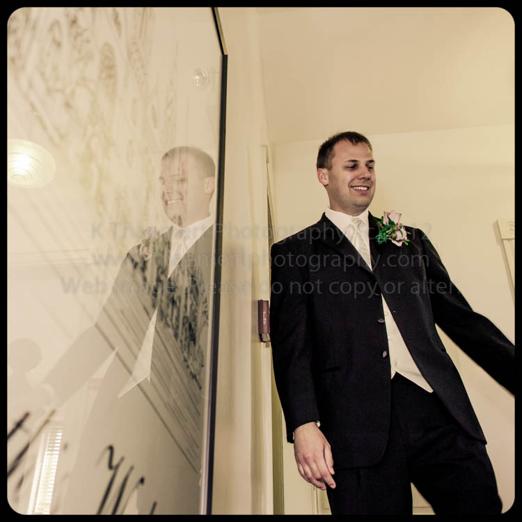 St Charles Wedding Photographer Groom arriving for his first look