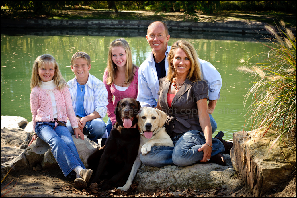 St Charles Family Photographer Portrait of family with Dogs