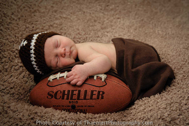 St Charles Newborn Photographer Baby Boy and Football