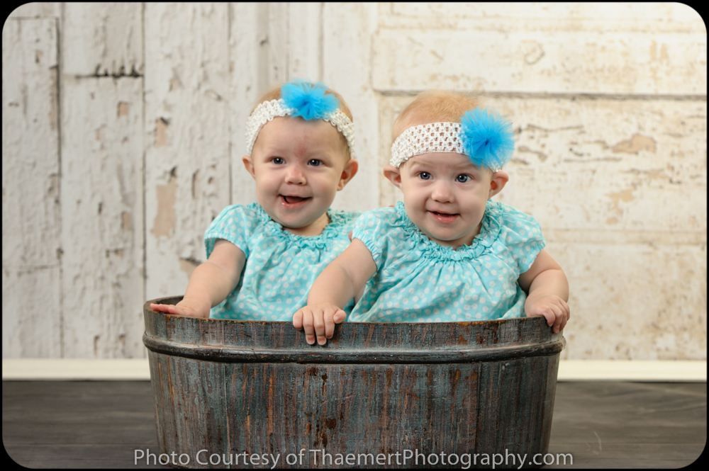 St Charles Baby Photographer twin 6 Month old girls