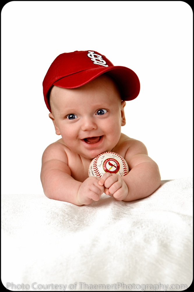 St Charles Baby Photographer 3 Month baby boy with baseball