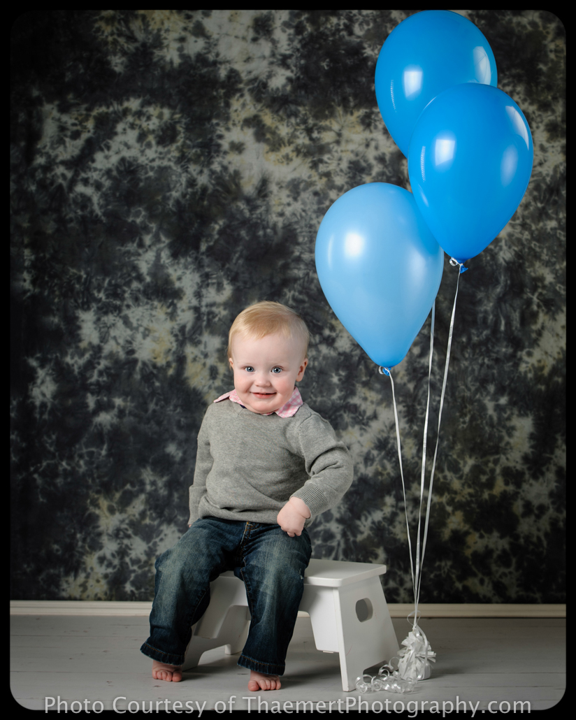St Peters Baby Photographer 1st birthday studio portrait with balloons