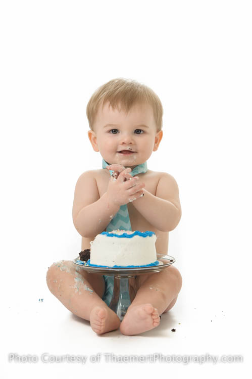 St Charles Baby Photographer Happy Boy Cake Smash