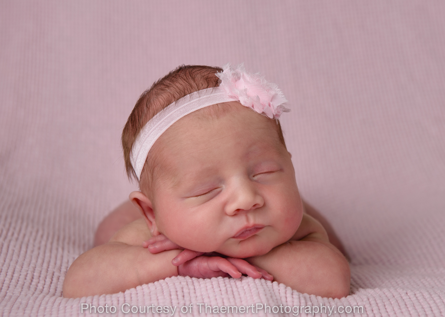 St Charles Newborn Photographer Baby Girl on Pink Blanket