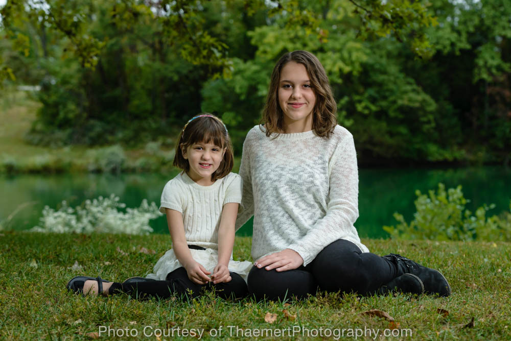 Sisters Portrait by the lake, St Charles Family Photographer