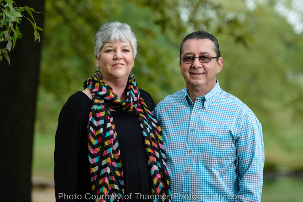 Couple photographed in the park by St Charles Family Photographer