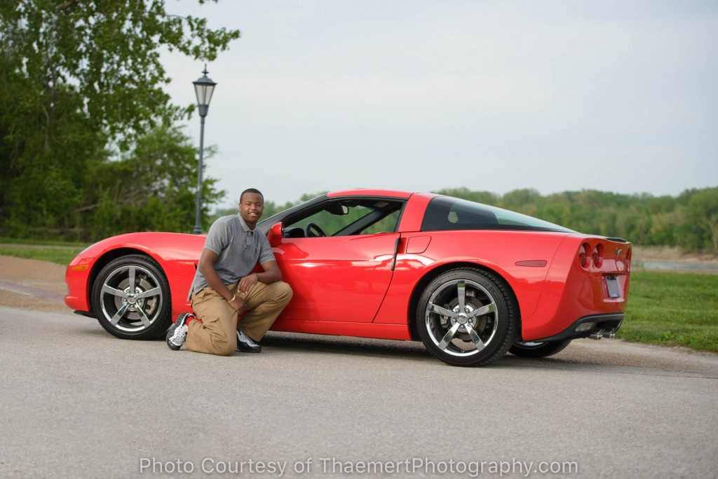 St Charles Senior Photographer Guy with Red Car