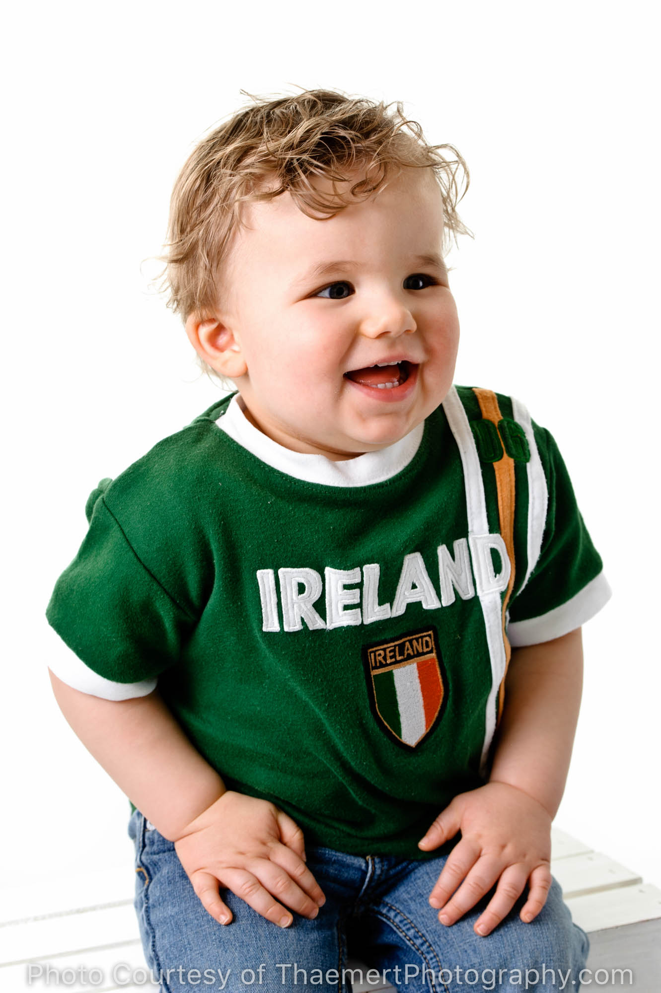 Happy Baby Irish fan St Charles Baby Photographer