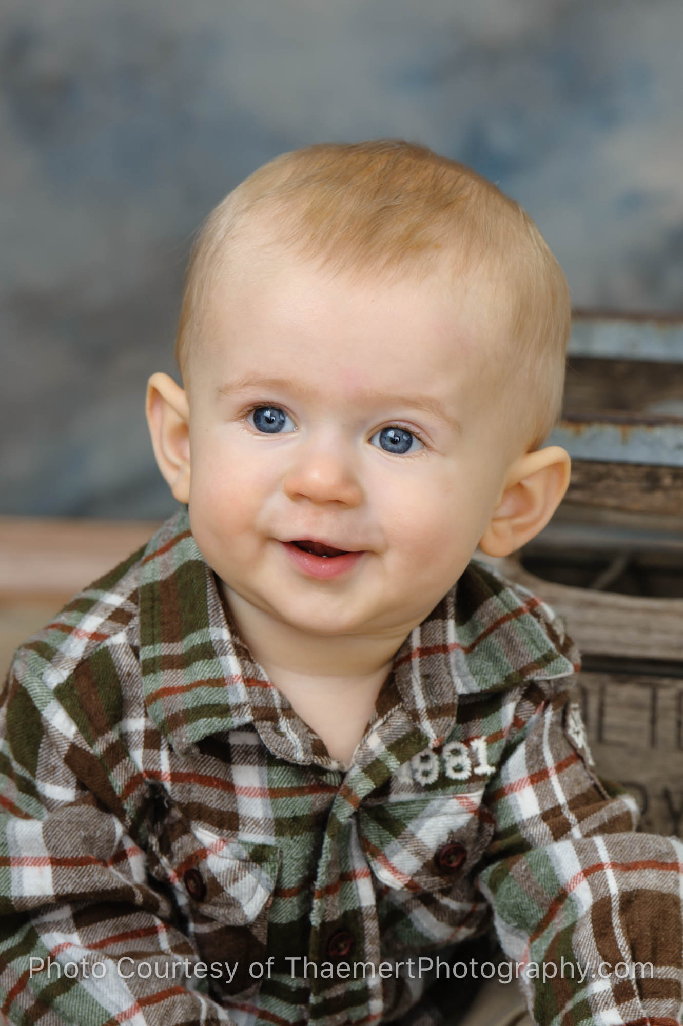 Closeup photo of baby boy by St Charles Professional Photographer