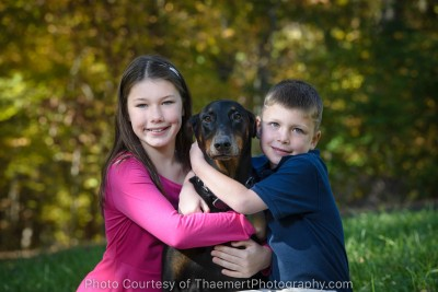 Kid photo with the beloved family dog in St Louis