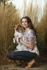 portrait of senior girl with dog
