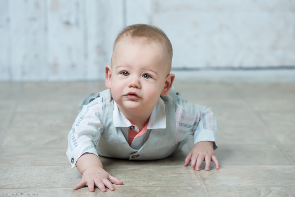Almost Crawling photo of baby boy in St Charles photo studio