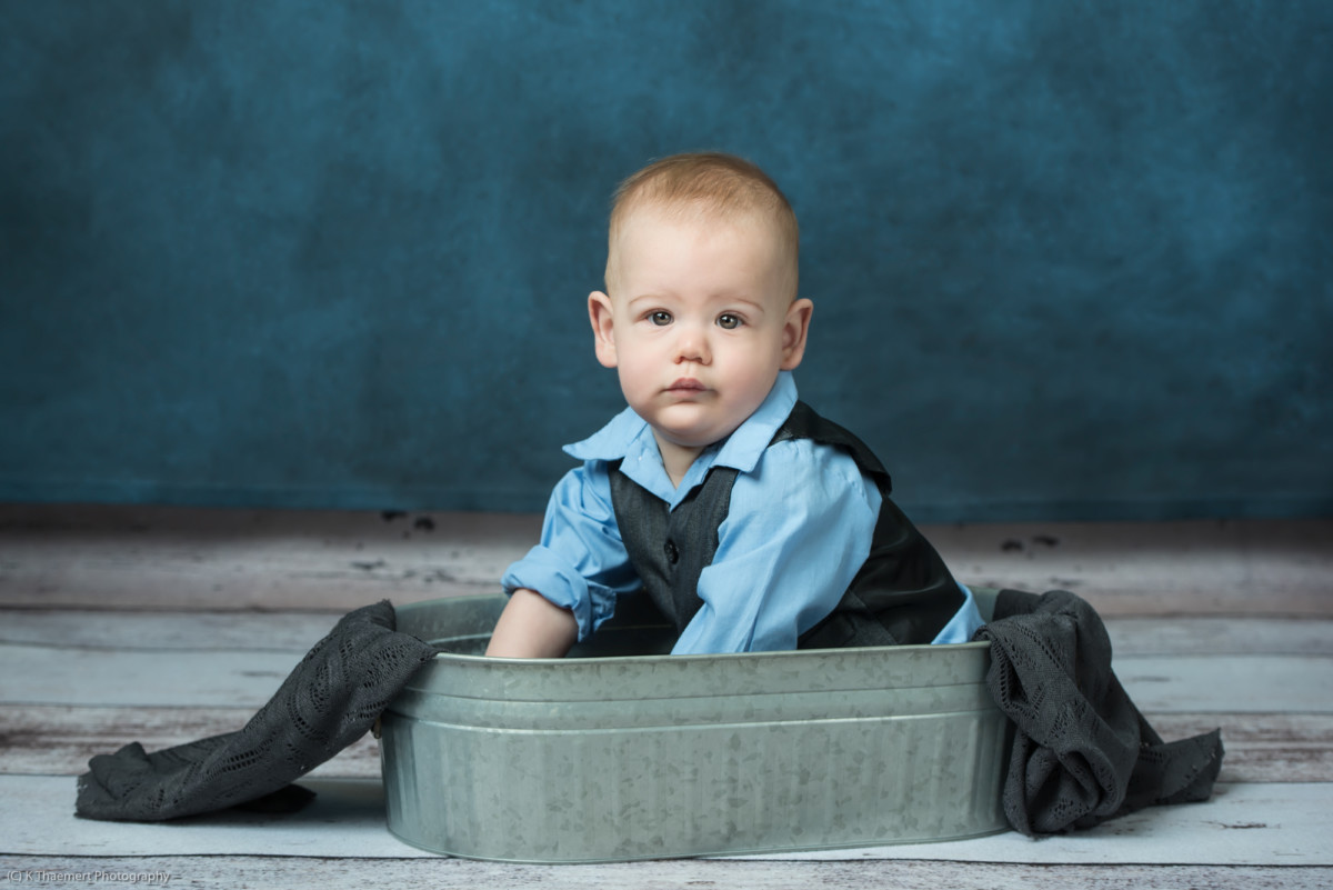 Sitting Baby Boy Portrait in Studio