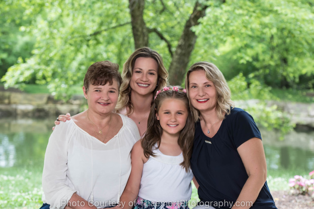 4 Generations of women portrait in the park