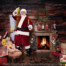 A girl shares magic with Santa while her sister sleeps